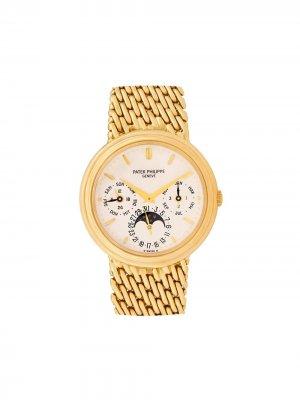Наручные часы Perpetual Calendar pre-owned 36 мм 1987-го года Patek Philippe. Цвет: золотистый