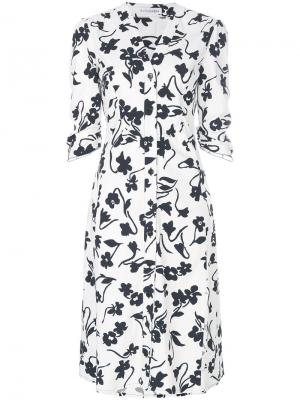 Платье-рубашка с цветочным принтом Altuzarra. Цвет: белый