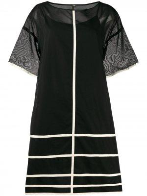Платье с контрастными короткими рукавами Pierantoniogaspari. Цвет: черный