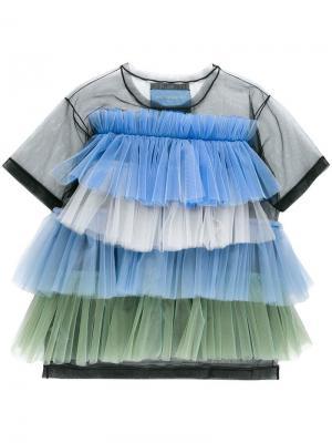 Блузка дизайна колор-блок с оборками Viktor & Rolf. Цвет: синий