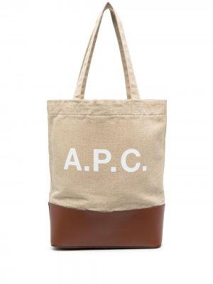 Сумка-тоут с логотипом A.P.C.. Цвет: нейтральные цвета