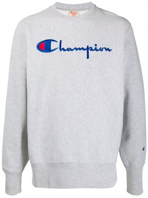 Толстовка с вышитым логотипом Champion. Цвет: серый