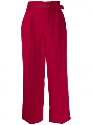Укороченные брюки с присборенной талией RED Valentino. Цвет: красный