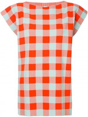 Клетчатая блузка мешковатого кроя Jil Sander. Цвет: оранжевый