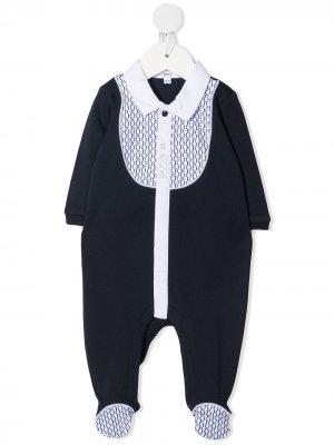 Комбинезон с манишкой и логотипом BOSS Kidswear. Цвет: синий