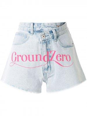 Джинсовые шорты с завышенной талией Ground Zero. Цвет: синий