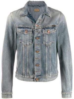 Джинсовая куртка с эффектом потертости Nudie Jeans. Цвет: синий