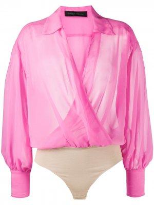 Блузка с драпировкой и запахом Christian Pellizzari. Цвет: розовый