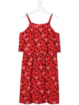 Платье с логотипом Moschino Kids. Цвет: красный