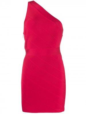 Платье мини Icon асимметричного кроя Hervé Léger. Цвет: красный