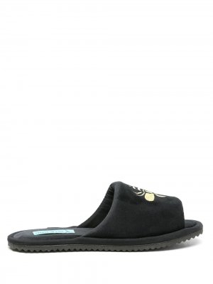 Бархатные слиперы с вышивкой Blue Bird Shoes. Цвет: черный