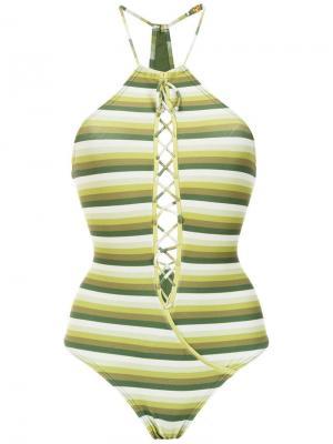 Striped swimsuit Amir Slama. Цвет: зеленый