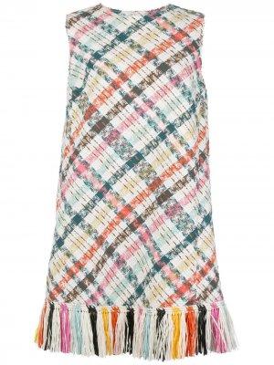 Короткое твидовое платье с вышивкой Oscar de la Renta. Цвет: белый