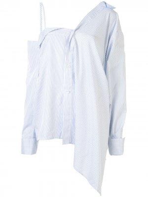 Рубашка с открытыми плечами Ground Zero. Цвет: синий