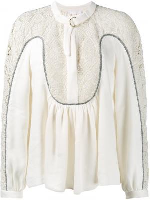 Блузка с ажурной вставкой Chloé. Цвет: нейтральные цвета