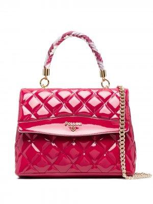 Стеганая сумка-тоут Pollini. Цвет: розовый