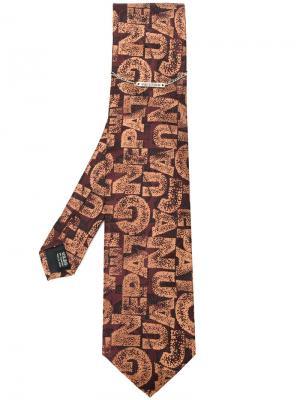 Жаккардовый галстук с логотипом Jean Paul Gaultier Pre-Owned. Цвет: коричневый