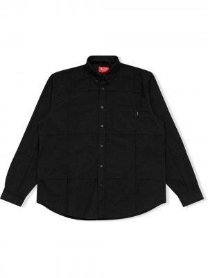 Рубашка оксфорд в технике пэчворк Supreme. Цвет: черный