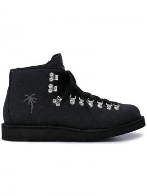 Ботинки для хайкинга с изображением пальм Diemme. Цвет: черный