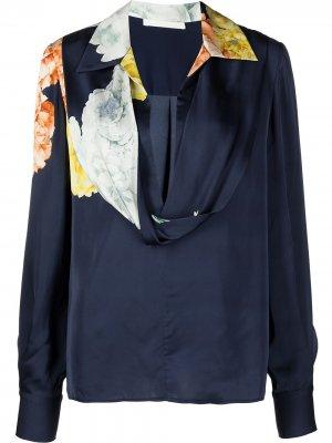 Блузка с воротником-хомутом Jason Wu Collection. Цвет: синий