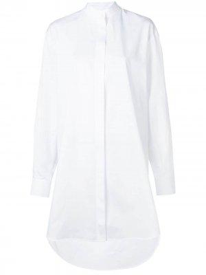 Платье-рубашка с плиссированным декором Givenchy. Цвет: белый