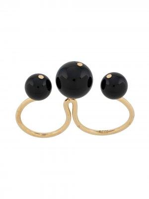 Двойное кольцо с бусинами AMI Paris. Цвет: черный
