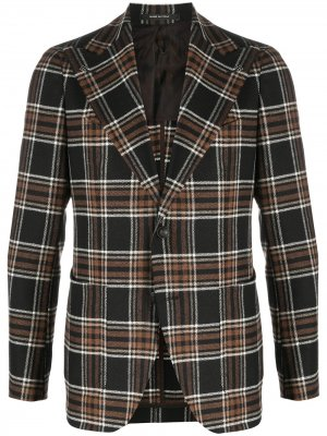 Однобортный пиджак в клетку Tagliatore. Цвет: черный