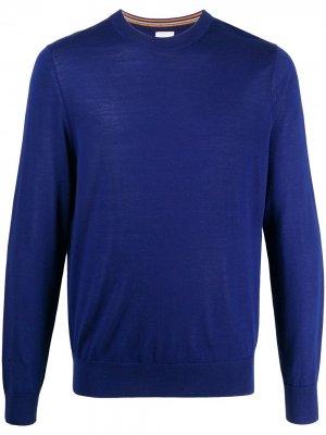 Пуловер с круглым вырезом и логотипом Paul Smith. Цвет: синий