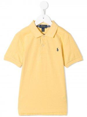 Рубашка поло с вышитыми логотипом Ralph Lauren Kids. Цвет: желтый