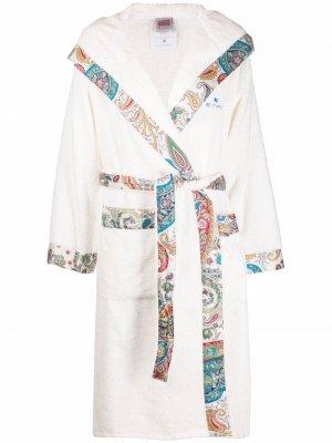 Халат с поясом и принтом пейсли ETRO HOME. Цвет: белый