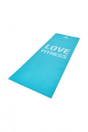 Коврик для фитнеса тонкий REEBOK. Цвет: голубой