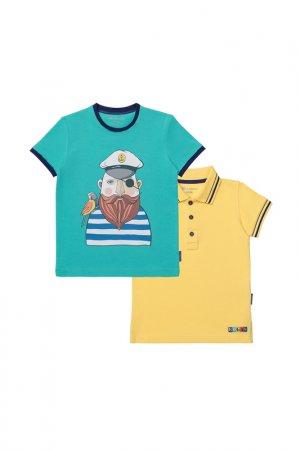 Комплект: футболка, рубашка Kogankids. Цвет: бирюзовый