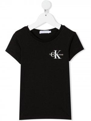 Футболка с логотипом Calvin Klein Kids. Цвет: черный