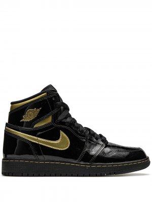 Кроссовки Air  1 Retro High OG Black Metallic Gold Jordan. Цвет: черный