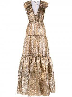 Платье с оборками и V-образным вырезом Halpern. Цвет: золотистый