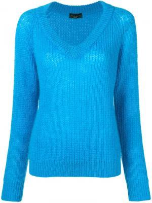 V-neck sweater Roberto Collina. Цвет: синий