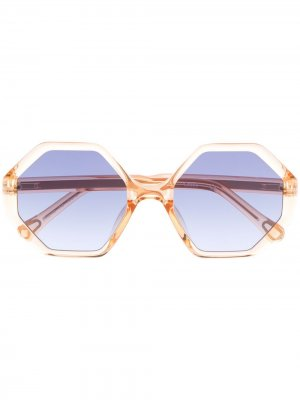 Солнцезащитные очки Willow в шестиугольной оправе Chloé Kids. Цвет: золотистый