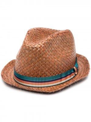 Шляпа с полосатой лентой PAUL SMITH. Цвет: коричневый