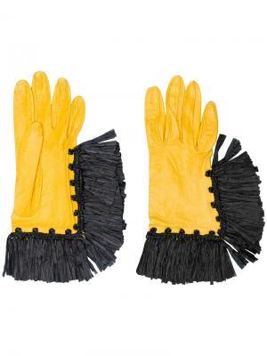 Перчатки с бахромой Christian Lacroix Vintage. Цвет: желтый