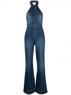 Джинсовый комбинезон Gorgeous с расклешенными брюками Alice+Olivia. Цвет: синий