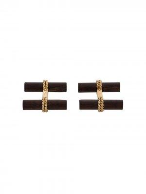 Запонки из золота и дерева Van Cleef & Arpels. Цвет: wood/золотистый