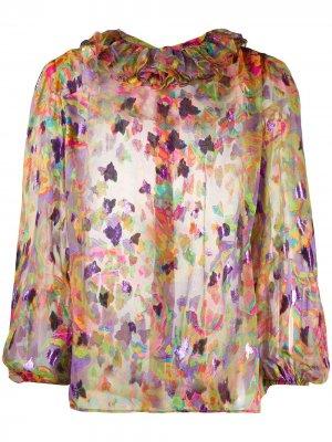 Прозрачная рубашка 1980-х годов с цветочным узором Yves Saint Laurent Pre-Owned. Цвет: оранжевый