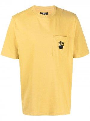 Футболка 8 Ball с карманом Stussy. Цвет: желтый