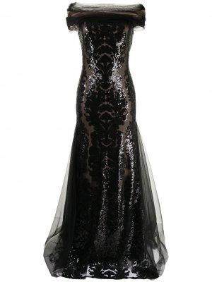 Платье Melek с пайетками Tadashi Shoji. Цвет: черный