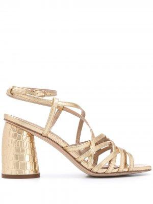 Босоножки на блочном каблуке Sam Edelman. Цвет: золотистый