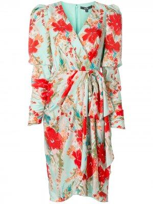 Платье с запахом и цветочным принтом Badgley Mischka. Цвет: зеленый