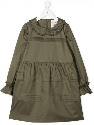 Платье миди с оборками Douuod Kids. Цвет: зеленый