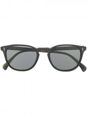 Солнцезащитные очки в круглой оправе Oliver Peoples. Цвет: черный