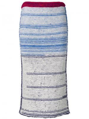 Трикотажная юбка с завышенной талией Calvin Klein 205W39nyc. Цвет: синий