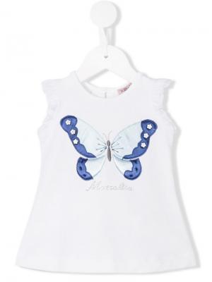 Блузка с логотипом Monnalisa. Цвет: белый
